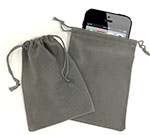 Lt. Grey Faux Suede Drawstring Jewelry and Gift Pouches