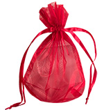 Sheer Red Organza Satin Cord Pouches