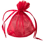 Sheer Red Flat Bottom Organza Satin Cord Pouches