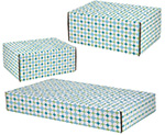 Teal Grid Side Seal Shipping Boxes