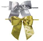 Pretied Metallic Bows With Wire Twist