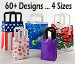 Frosty Fashion Plastic Shopping and Gift Bags w/Trifold Handles