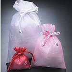 Organza Pouches w/Flocked Hearts
