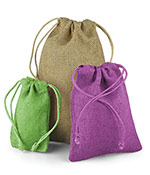 Natural Burlap Gift Pouches w/Matching Drawstring