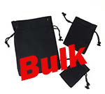 Bulk Black Cotton Pouch  w/ Black Cords