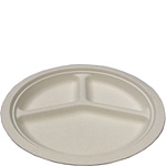 Biodegradable 10in 3-Compartment Sugarcane Plates
