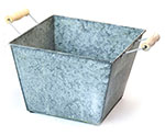 Vintage Galvanized Square Trays with Side Handles