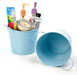 6 1/2in. Bright Lt Blue Painted Pail w/Side Handles