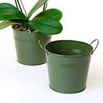 6 1/2in. Olive Green Painted Pail w/Side Handles