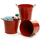 6 1/2in. Red Painted Pail w/Side Handles