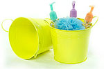 6 1/2in. Yellow Painted Pail w/Side Handles