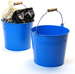 8 1/2in. Blue Painted Pail Wooden Handle