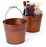 8 1/2in. Faux Copper  Pail Wooden Handle
