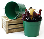 10in. Green Pail Wooden Handle