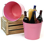 10in. Pink Pail Wooden Handle