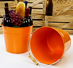 10in. Orange Pail Wooden Handle