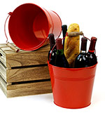 10in. Red Pail Wooden Handle