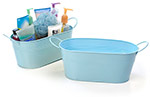 12in. Lt. Blue Painted Oval Tub w/Side Handles
