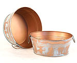10in. Verdigris Copper Round Tub w/Side Handles