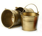5 in. Round Antique Brass Painted Handle Pail