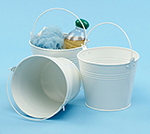 6 in. Round White Painted Handle Pail