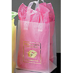 Clear Frosted Shopping Bags w/Soft Loop Handles