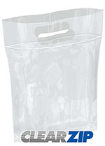 Die-Cut Handle ClearZip Plastic Bags w/Zip Closure
