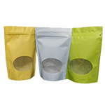 Colored Oval Bottom Window StandUp Pouch