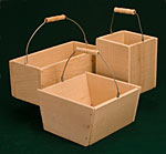 Wooden Country Baskets with Wire Handles