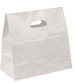 White Kraft Die-cut Take Out Bag