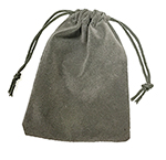 Dark Grey Rayo Suede Drawstrig Gift Pouches