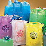 Clear Frosted Shopping Bag w/Square Folded Handle