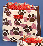 Paws Design Frosted Plastic Bag w/Diecut Handles