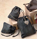 Leatherette Drawstring Jewelry Pouches