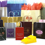 Gloss Colors on White Base Paper Bags w/Twisted Paper Handles,