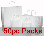 Nifty50 White Gloss Paper Bags w/ Twisted Paper Handle