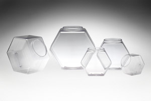 Hexagon Clear Tubs w/ Lids