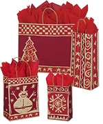 Homespun Christmas Paper Shopping Bags