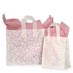 Frosted Plastic Bag w/Ivory Scroll Pattern