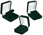 Hunter Green Velvet Jewelry Boxes with Satin Inserts