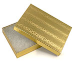 5 1/4 x 3 3/4 x 7/8 Budget Fiber Filled Gold Mosaic Box