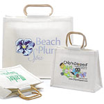 Custom Printed Cane Handle Jute Shopping Bags