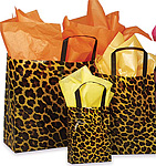 Leopard Pattern Frosted Plastic Bag w/Loop Handles