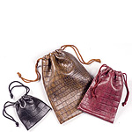 Leatherette Embossed Drawstring Jewelry Pouches