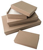 Textured Light Brown Kraft Fiber Filled Jewelry Boxes