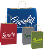 Printed 50% Recycled Natural Smooth Color Shopping Bags w/ Kraft Interior