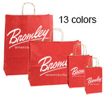 Printed Varnish Shadow Stripe Color Shopping Bags w/ Kraft Interior