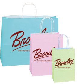 Printed 100% Recycled Pastel Color Shopping Bags w/ White Interior