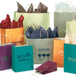 Paper Bags w/Twisted Paper Handles, Matte Colors on Oatmeal Base