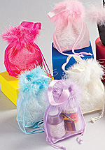 Colorful Mesh Bags w/Feathers, Drawstrings, and Ribbon Handles